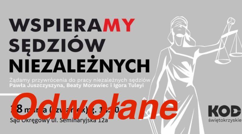 Pikieta w Kielcach w obronie sądów – odwołana